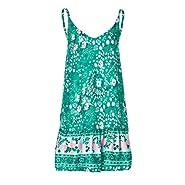 Xiaojmake Women's Sleeveless Floral Print Empire Waist Backless Flowy Boho Mini Tank Dress
