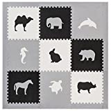 Foam Floors Extra Large Soft Mat for Babies and Kids, Safe Thick Non-Toxic Cute Pastel Animals (Black with Grey Border)