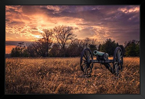 (Civil War Cannon at Sunset Photo Art Print Framed Poster 20x14 inch)