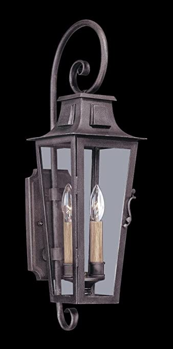 Amazon troy lighting french quarter 2 light outdoor wall troy lighting french quarter 2 light outdoor wall lantern aged pewter finish with clear workwithnaturefo