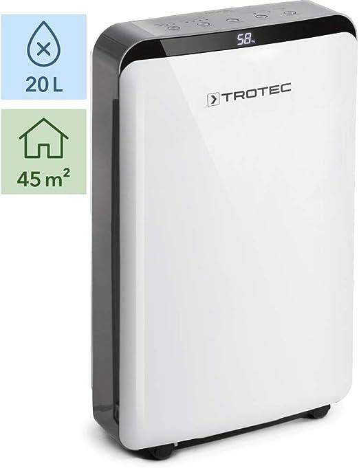 TROTEC Deshumidificador eléctrico TTK 69 E / 20L / Pantalla LED / Desagüe 4L / Portátil / Para Habitaciones de hasta