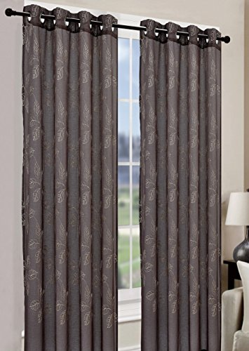 Palm Tree Bamboo Door Curtain (Faux Linen Window Curtain Leaf-Embroidered Panel 54