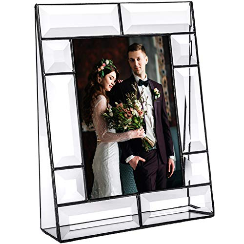 Clear Glass Picture Frame 5x7 Photo Display Desk Accessories Tabletop Home Décor Family Wedding Anniversary Engagement Graduation Gift J Devlin Pic 112 Series (Picture Frames Lead Crystal)