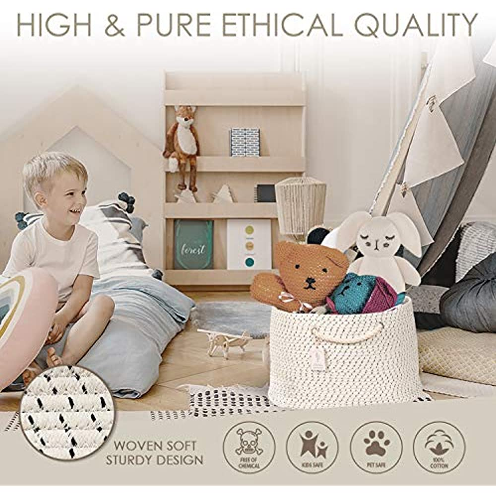 Nursery Grey Playroom: 20 x 14 Hand Woven Hamper XXL Extra Large Cotton Rope Basket with Exclusive Laundry Bag: Wide Storage Organizer for Living Room Blankets Baby Kids Toys Sofa Throws