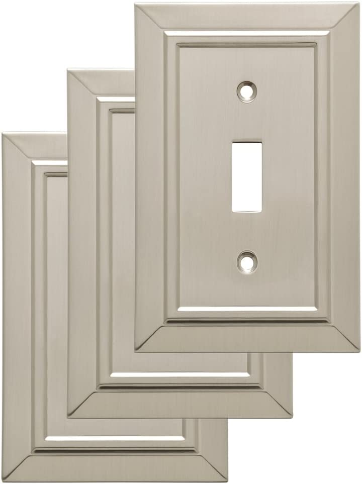 Franklin Brass W35217V-SN-C Classic Architecture Single Toggle Wall Switch Plate/Cover, 3-pack, Satin Nickel