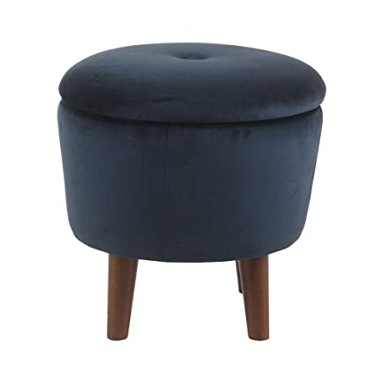 Stupendous Amazon Com Navy Vanity Stool Modern Round Velvet Tufted Gmtry Best Dining Table And Chair Ideas Images Gmtryco