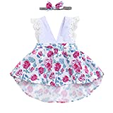 HappyMA Toddler Baby Girl Clothes Floral Dress Lace Ruffle Sleeveless Backless Skirt with Headband 2Pcs Outfit (White, 6-12 Months)