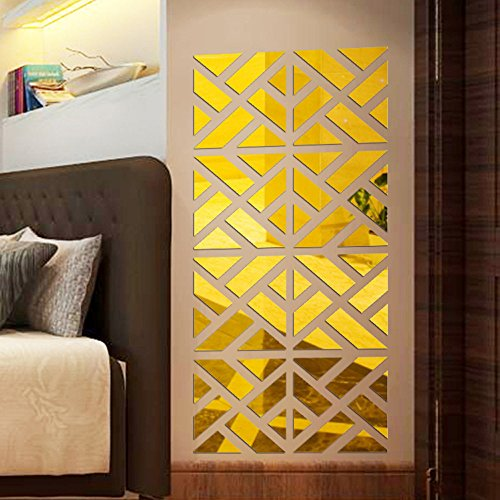 Clearance Tuscom 1 Set 32Pcs Mirror Acrylic Wall Sticker,for DIY Art Home Room Decal Removable Wall Sticker, 800X200X10mm (Gold) ()