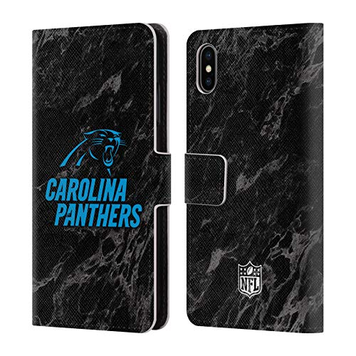 Official NFL Coloured Marble 2018/19 Carolina Panthers Leather Book Wallet Case Cover for iPhone Xs Max