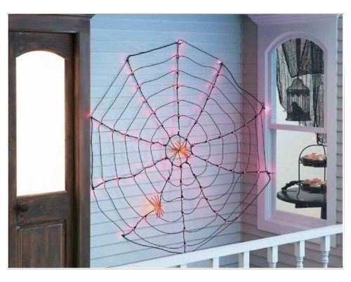 Halloween Purple Lighted Cobweb Spiderweb Indoor Outdoor Halloween Decoration,5 FT - Halloween Spider Web Lights