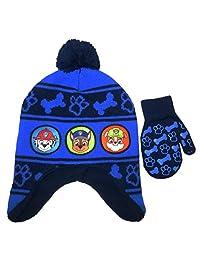 Beanie Cap - Paw Patrol - Boys Team Blue/Black Hat & Mitten Set New 301719