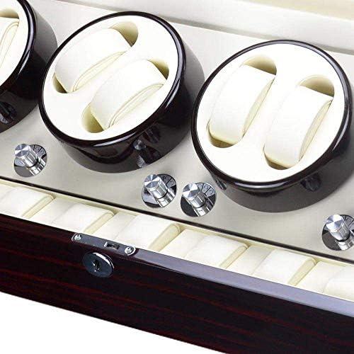 LKB-KB 8つのワインダー体位、9つのストレージスペース、4モードと自動ウォッチワインダーボックス、ウッドシェル、ピアノペイント