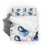 Top Carpenter Bedding Quilt Cover Set,2-Piece Suit Mermaid Girl 1 Duvet Cover,1 Pillowcase,Twin