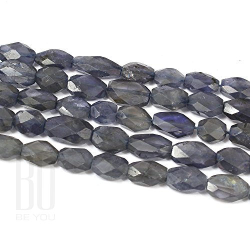 Be You Blue Color Natural Indian Iolite Gemstone Faceted Oval Beads 2 Line Loose 13 inch Strand ()
