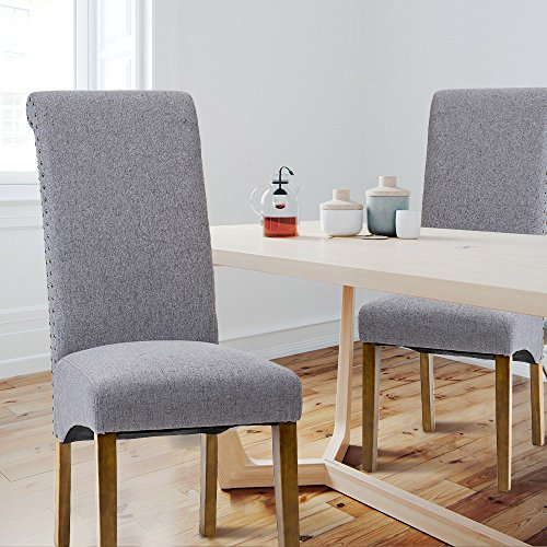 Merax Dining Chairs Set of 2 Fabric Padded Side Chair with Solid Wood Legs, Nailed Trim(Grey) by Merax (Image #1)'