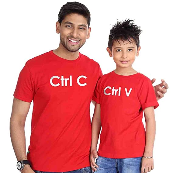 Bon Organik Red Ctrl C Ctrl V Father Son Best Family Matching Father and Son.  Milk Inside Beer Inside Dad and Son T-Shirt ac2f9b8bf91b
