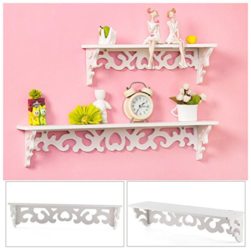 SODIAL(R) Set of 2 White Shabby Chic Filigree Style Shelves Cut Out Design Wall Shelf Home by SODIAL(R) (Image #1)