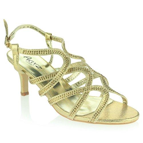 Mujer Señoras Diamante Decorado Enjaulado Correa Tacón Medio Noche Fiesta Boda Prom Nupcial Sandalias Zapatos Talla Oro