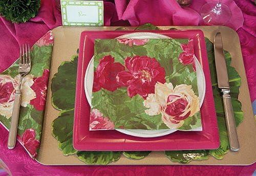 Entertaining with Caspari Die-Cut Placemats Set of 4 Leaf