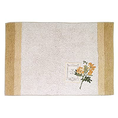 Avanti Linens Alana Bath Rug, Ivory - Atlanta decorative towel features a beautifully embroidered flower on an Ivory ground, finished with a coordinating tan and beige border on the bath and Hand sizes Alana sheared velour towels are 100Percent Cotton exclusive of embellishments. Towel Made in Canada, embellished in USA of imported materials. Machine wash warm, tumble dry low. Do not bleach Made in India - bathroom-linens, bathroom, bath-mats - 516DcVEMUdL. SS400  -