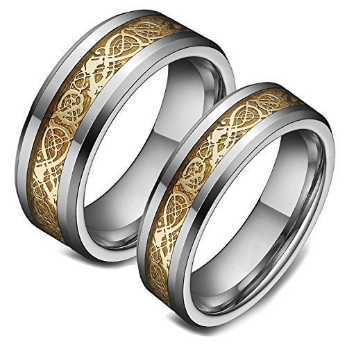 8mm Men Tungsten Engagement Wedding Bands Gold Celtic Dragon Inlay Promise Rings Comfort Fit Size 8 Dragon Inlay