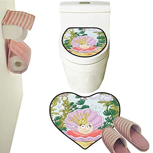 2 Piece Set Luxury Bath Rug Set Princ Pearl in Clam Tiara Reef Print Baby Girl Nursery Toilet Mat Set Bathroom ()