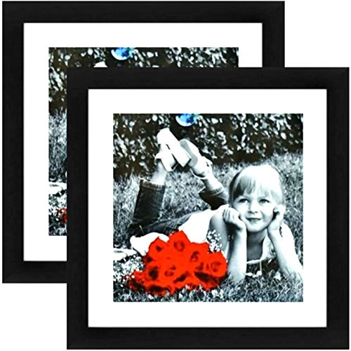 Tasse Verre 11x11 Picture Frame (Black 2-Pack) - HIGH Definition Glass Front Cover - Displays 8x8 Picture w/o Mat or an 11x11 Photo w/Mat - Poster Wall Mounts & Ready to Hang