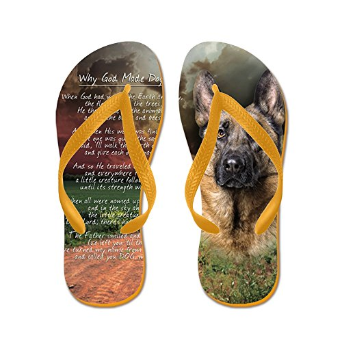 Cafepress Godmadedogs (knapp) - Flip Flops, Roliga Rem Sandaler, Strand Sandaler Apelsin