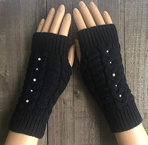 Cable Knit Fingerless Gloves Women Black Rhinestone White Beige Burgundy Red Arm Warmers Winter Mittens Hand Warmers Acrylic Handmade