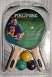Ping Pong 2 Player 1 Star Table Tennis Rubber Racket Set Teal/Purple 3 Balls