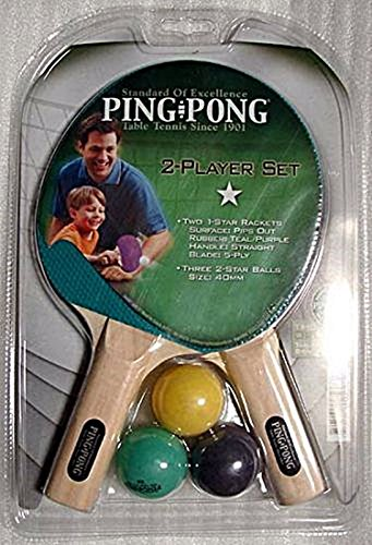 Ping Pong 2 Player 1 Star Table Tennis Rubber Racket Set Teal/Purple 3 Balls by ping pong