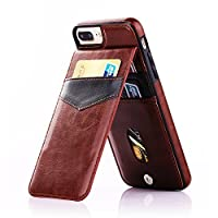 Onetop, for iPhone 7 Plus Case with Card Holder, Premium PU Leather Kickstand Wallet Case for iPhone 7 Plus 5.5 Inch(Brown)