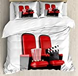 Ambesonne Movie Theater King Size Duvet Cover Set, 3D Illustration Cinema Concept Clapper Board and Popcorn on Theater Seat, Decorative 3 Piece Bedding Set with 2 Pillow Shams, Red Black White