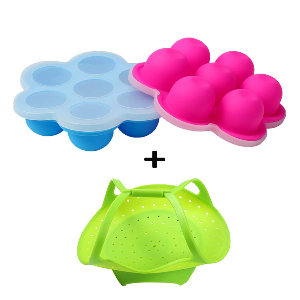 2 Mini Egg Bites Tray for 3 qt Instant Pot Accessory - Silicone Steamer with Handles Included for Easily Taking the Tray Out the Hot Pot by ULEE