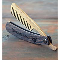 Beard comb wood by Enjoy The Wood - moustache comb - Wooden Straight Razor Comb for Men Great with beard Balm and beard oil Grooming kit Pocket size Small Gift for Husband Fathers Day Brother