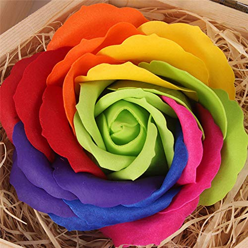 1 Pc Rainbow Random Bath And Body Works Handmade Soap Bath Body Petal Rose Flower Soap Wedding Decoration Making Soap Beauty & Health