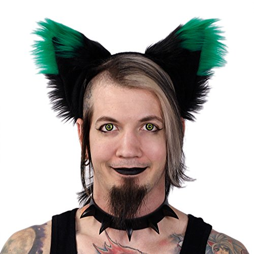 Pawstar Yip Tip Dark Fox Furry Ear Headband Costume Ears - Green