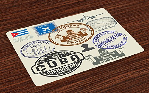 Lunarable Havana Place Mats Set of 4, Travel Concept Passport Stamp Design of Cuban Cities and Landmarks, Washable Fabric Placemats for Dining Table, Standard Size, Cobalt Blue]()
