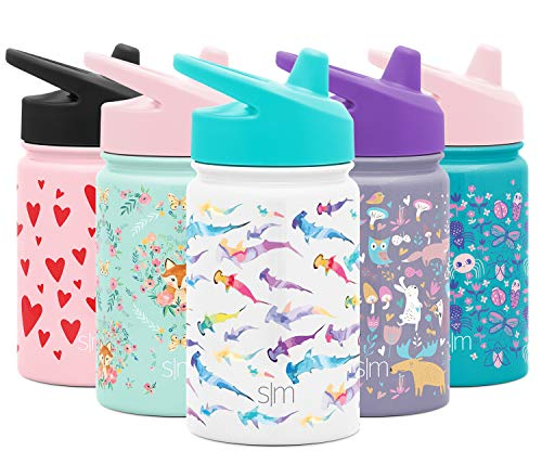 Simple Modern Kids Summit Sippy Cup Thermos 10oz – Stainless Steel Toddler Water Bottle Vacuum Insulated Girls and Boys Hydro Travel Cup Flask -Watercolor Sharks