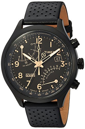 (Timex Men's TW2R54900 Intelligent Quartz Fly-Back Chronograph Black Leather Strap Watch)