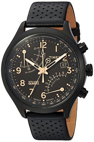 - Timex Men's TW2R54900 Intelligent Quartz Fly-Back Chronograph Black Leather Strap Watch