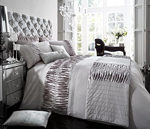 Luxury Duvet Cover King Size Set With Pillow cases Printed Luxurious Bedding Poly Cotton Modern New Designer Style ( Alina Silver , King ) by De Lavish by De Lavish