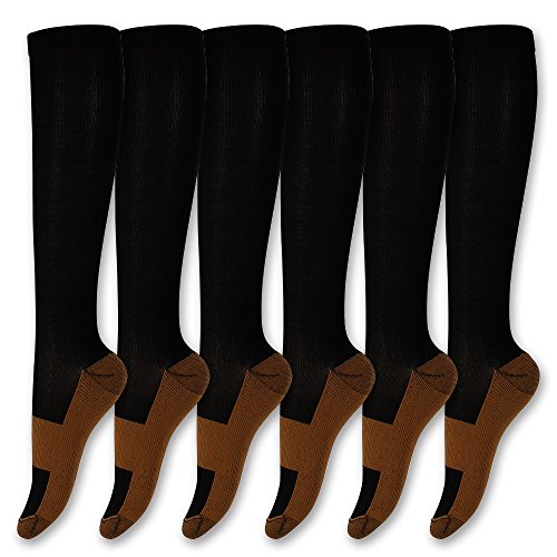 Graduated Copper Compression Socks Anti Fatigue Knee High Socks 6 Pairs Men Women Pain Ache Relief Stockings-15-20 mmHg (All Black, S/M)