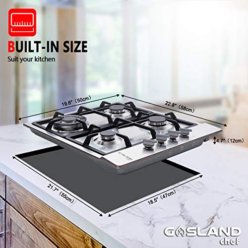Gas Cooktop, chef GH60SSC Stove Steel LPG Cooktop, Gas Stove 4 Sealed Safety Certified, Easy To