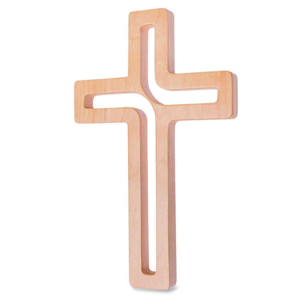 kruzifix24 Devotionalien Croce Croce in legno da parete moderno design a giorno laccato naturale 18x 12x 1, 4cm gioielli a forma di croce per la parete Devotionalien Augsburg