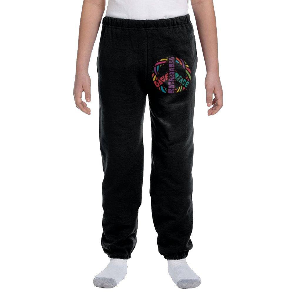 Luosi-77 Teenager Boys Soft/Cozy Sweatpants Peace, Love & Rock'n Roll Warm Fleece Active Pants