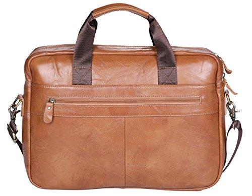 VIDNEG Handmade Briefcase Top Grain Leather Laptop Bag Messenger Shoulder Bag for Business Office 15 inch Macbook (CP-Light Brown) by VIDENG (Image #1)