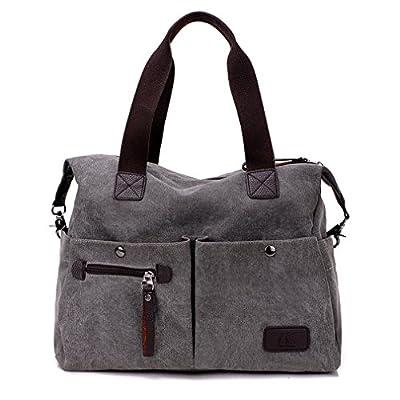 Lonson Unisex Canvas Shoulder Bag Big Travel Handbag Weekend Tote Bag