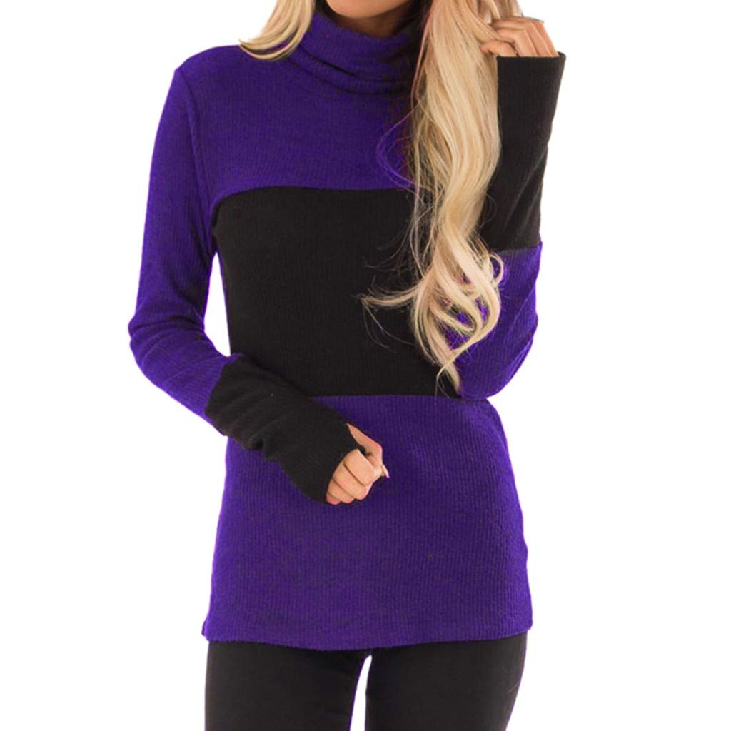 Willow S Women Fashion Comfy Sport Casual High Neck Patchwork Long Sleeve Loose Sweatshift Blouse Tunic Purple by Willow S (Image #1)