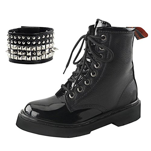 Womens Short Combat Boots Lace Up Studded Cuff Black Vegan Shoes 1 1/4 In Heel